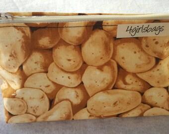 Potato print cosmetic bag.  Potato accessories,  make-up bag,  zipper pouch