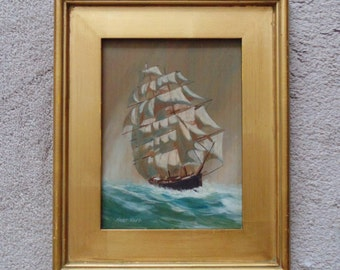 Oil on Wood Clipper Tall Ship Full Sail Painting Signed (Lawrence) Forbes Wolfe Nautical Marine