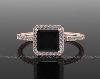 Princess Cut Black Diamond Engagement Ring, White And Black Diamond 14k Rose Gold Halo Ring, Wedding Ring Re0010