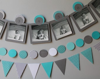 ANY COLOR Baby's First Year 12 Month Photo Banner, Paper Banner Display for 0-12 Month Pictures - teal - grey - aqua - Month by Month banner