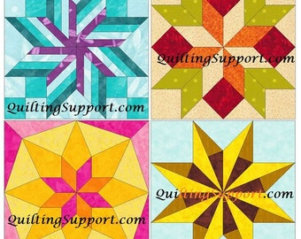 Star Set of 4 Paper Piece Template Quilting Block Patterns Set 5 PDF