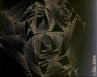 KEY APERTURE Gold Dot Painting by Milica ZZAA .:. Gold Acrylic on Canvas