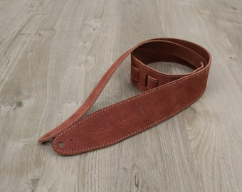 "Handmade Leather Guitar Strap - Crow [2.5""]"