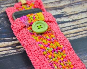 Coral- Phone Case- Glasses Holder