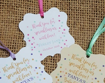 Personalized Favor Tags 2x2'', Baby Girl Shower  tags, Thank You tags, Favor tags, Gift tags, SPRINKLING, baby sprinkle, bridal shower