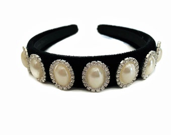Stunning Black Velvet Headband Hair band with Oval Pearl and Diamante Cabochons