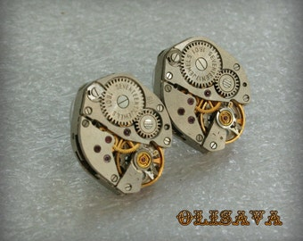 Steampunk Stud Earrings with  Vintage Mechanical Watch Movement  , Steampunk Earrings , Steampunk jewelry