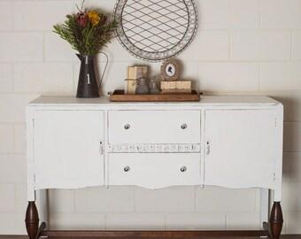 SOLD**Newly Refurbished Vintage White Sideboard Buffet Dresser