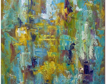The Passion of Green Blue and Yellow - Hand Painted Palette Knife Modern Abstract Oil Painting On Canvas