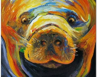 Florida Manatee - Signed Hand Painted Contemporary Impressionistic Wildlife Oil Painting On Canvas