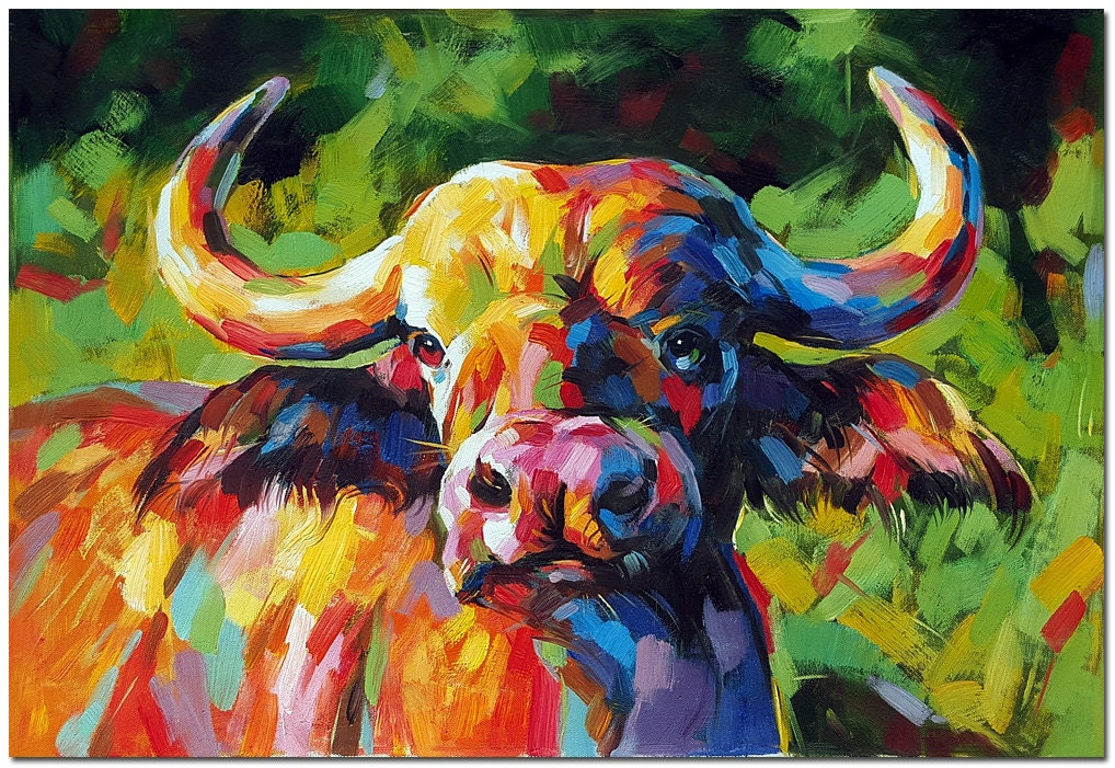 African buffalo oil painting signed hand painted modern for Watercolor paintings of hands