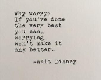 Walt Disney Quote Typed on Typewriter - 4x6 White Cardstock