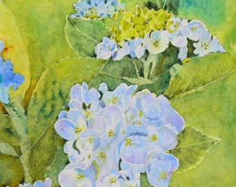 Painting watercolor hydrangeas flowers floral watercolor original hydrangea painting watercolor painting original fine art painting blue art
