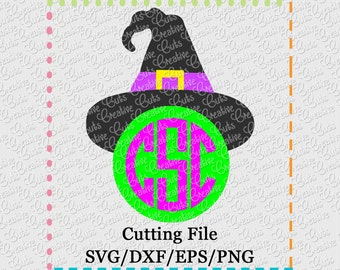 EXCLUSIVE SVG eps  DXF Witch Hat Monogram svg Halloween svg witch svg halloween witch svg monogram svg halloween monogram svg witch hat svg