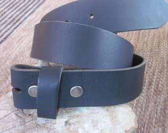 Full grain soft  buffalo leather  small black  belt strap snap belt strap belt with snaps for interchangeable buckles