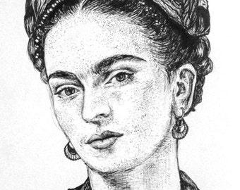 PRINT Frida Kahlo Drawing Pen Ink Portrait Feminist Mexico Mexican Feminism Wall Art Decor Artwork Artist Line Work Boho Bohemian