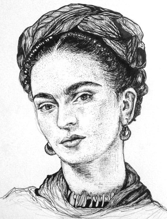 Imprimer de frida kahlo dessin pen encre portrait mexique for Artiste dessin