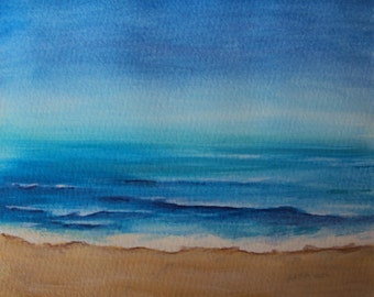 Sea, painting acrylic on paper, 20/20 cm, beach, beach art,.