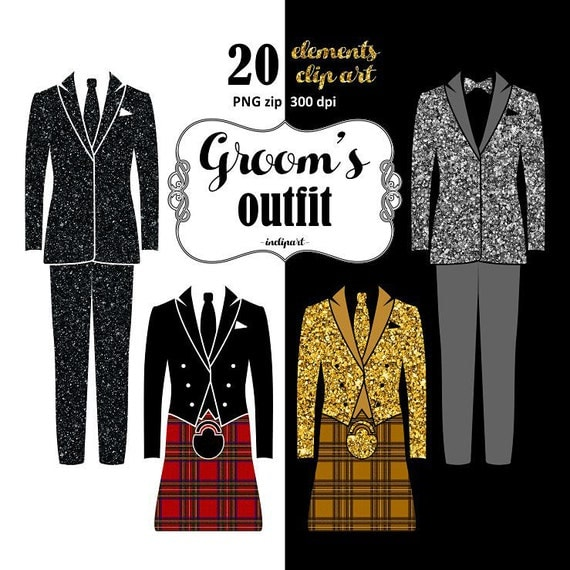 Clipart Groom Outfit. Wedding Clipart. Suit tuxedo wedding