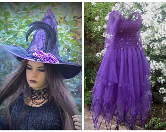 Adult Halloween Plus Size Fairy Dress and  Witches Hat ~ Steampunk ~ Theatre ~ Gothic ~  Costume ~