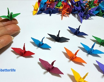 "100pcs 1.5"" Assorted Colors Origami Cranes Hand-folded From 1.5""x1.5"" Square Paper. (KR paper series). #FC15-46."