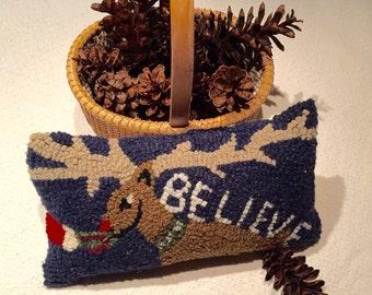 "Maine balsam filled hooked reindeer ""believe pillow"""
