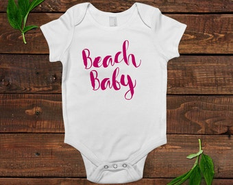 Baby Girl Beach Outfit Shirt - Summer Baby Bodysuit - Newborn Baby Girl Gift