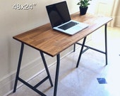 48x24 Hand-Finished Wood Table or Desk on Ikea Trestle Legs, Early American Stain Color