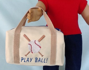 Baseball or Softball Duffle Bag for American Girl/18 Inch Doll