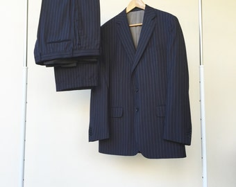 men's vintage blue suit, wool vintage suit, striped blazer jacket