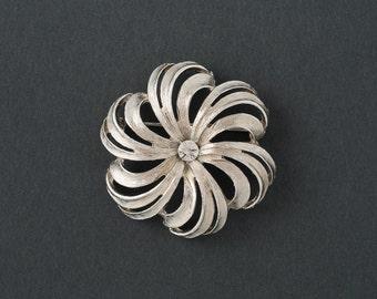Vintage Torino Swirl Brooch  Silver with Rhinestone