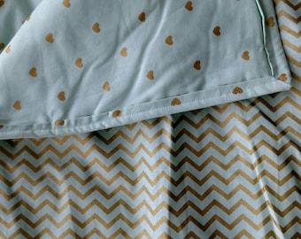 baby quilt, baby girl nursery, baby blanket, nursery bedding, crib bedding, mint green, hearts, chevron,gold, gus and rosie