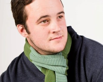 Green Scarf, Men's Scarf, Striped Scarf, Egyptian Cotton Scarf, Neck Warmer, Men's Fashion, Winter Scarf, Unique Scarf, Man Gift, 117