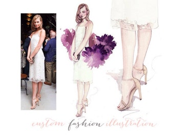 Custom fashion illustration - Custom portrait - Original watercolor painting
