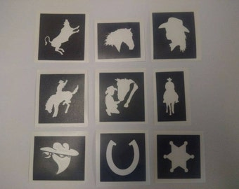 Rodeo & Cowboy themed tattoo set including 30 stencils + 5 colors + glue bronco bull cowgirl