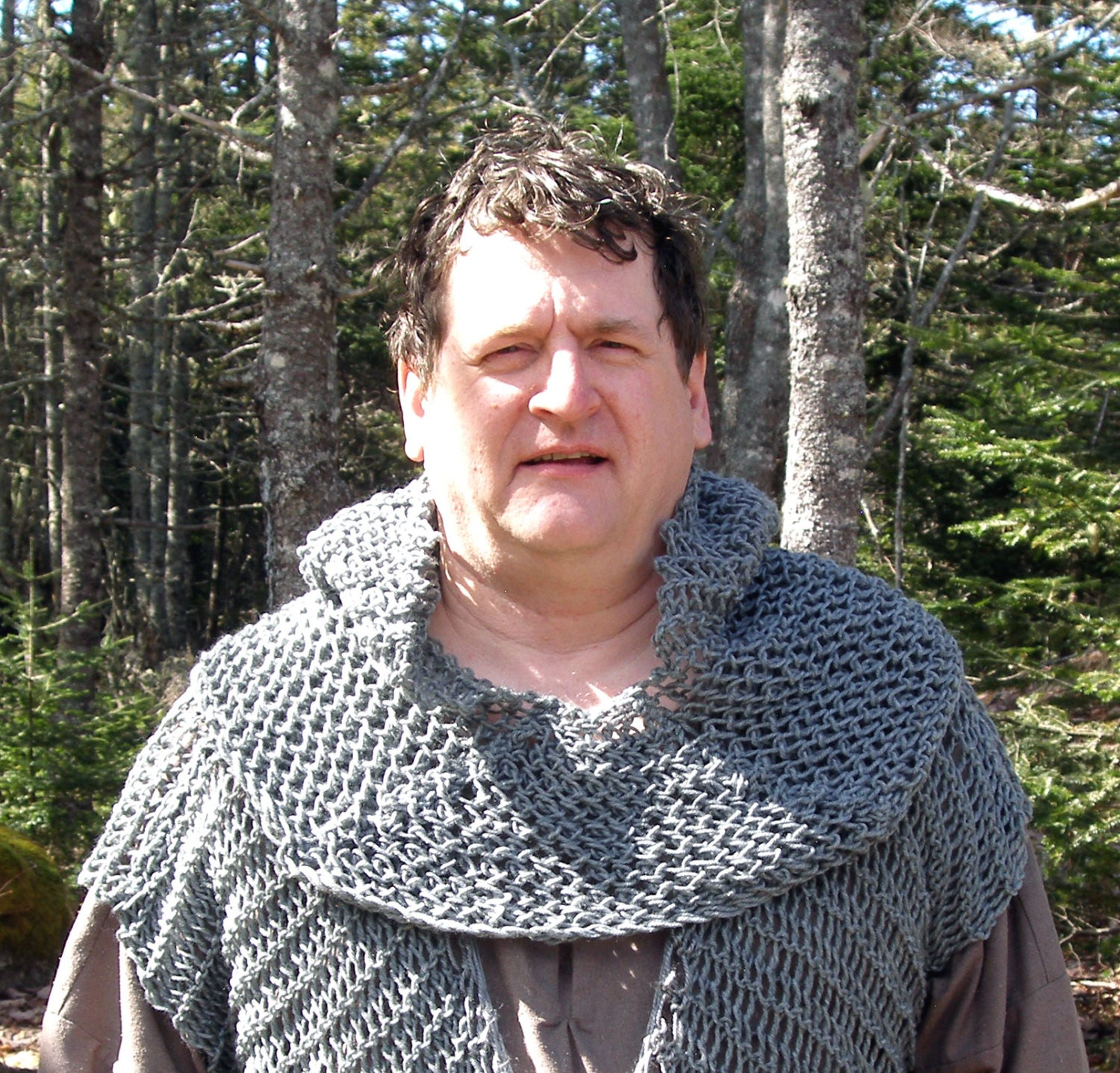 Chainmail Hood Knitting Pattern : Faux chain mail hood a hand-knit coif with fitted cowl