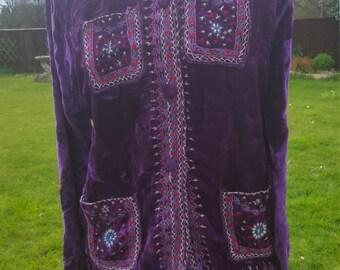 Vintage velvet Ghandara indian / hippie/hippy/ ladies shirt/top