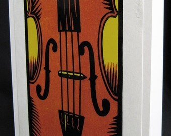 Hand pulled, woodblock printed greeting card, 'Violin'.