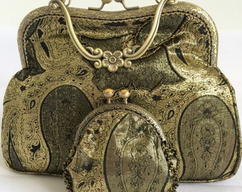 Gold evening bag and coin purse set.