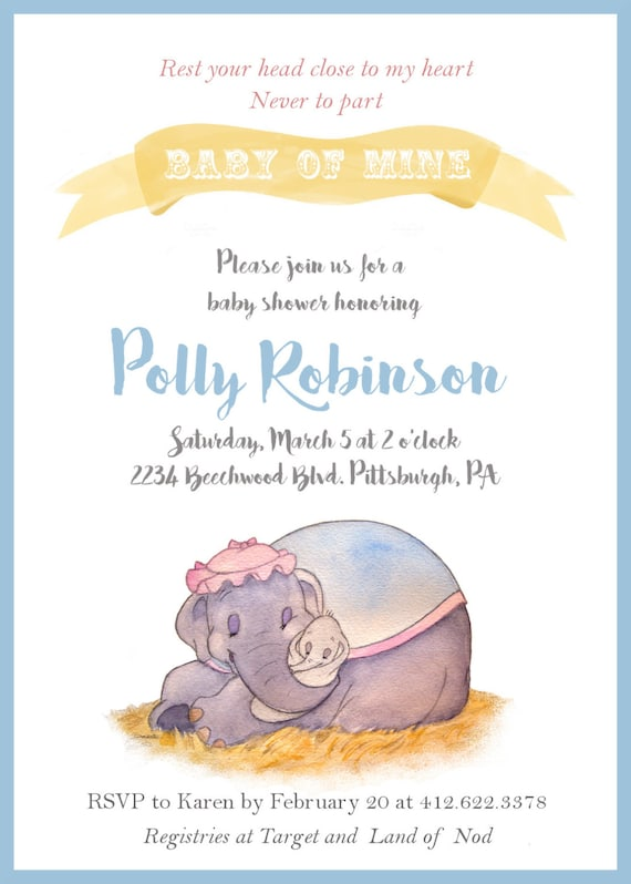 dumbo baby shower invitation baby mine custom invite printable 5 x