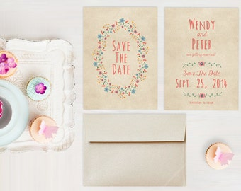 Save The Date Cards for Rustic Weddings / PRINTED Save-The-Date Card / Pastel Wreath & Coral Pink