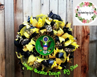 Army Wreath,  Military Wreath, Army Mesh Wreath, Veterans Day Wreath, Memorial Day Wreath, Father's Day Gift, Graduation Day