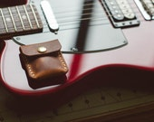 Guitar Pick Holder - Horween Natural Dublin - Legacy Brand Leather Hand Stitched