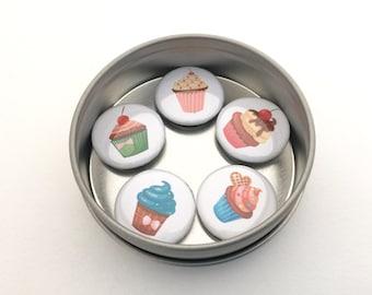 Gift for cupcake lover, Cupcake Magnet Set