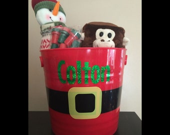 Adorable Personalized Christmas Santa Claus Gift Bucket~Customized~Better Than a Gift Bag or Stocking~Presents From Santa