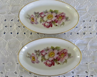 Porcelain Gerold-Porzellan Trinket Dishes with Roses (2 Available)