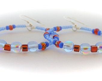 Hoop Earrings, Beaded Earrings, Boho Earrings, Blue, Copper, Gypsy Earrings