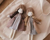 Dreaming Handmade Doll - polka dots dress and flowery dress