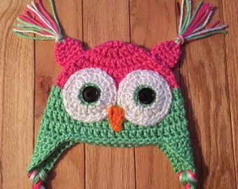 Baby Girl Crochet Owl Earflap Hat All Sizes