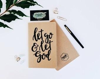 Let Go + Let God - Moleskine Kraft Journal, Hand-lettered, Modern Calligraphy, Prayer Journal